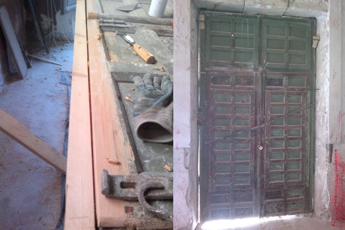 Ventanal antes y proceso restauracion